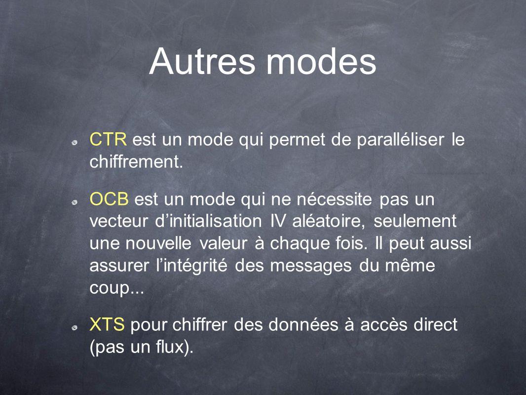 Autres modes CTR est un mode qui permet de paralléliser le chiffrement. OCB est un mode qui ne nécessite pas un vecteur dinitialisation IV aléatoire,