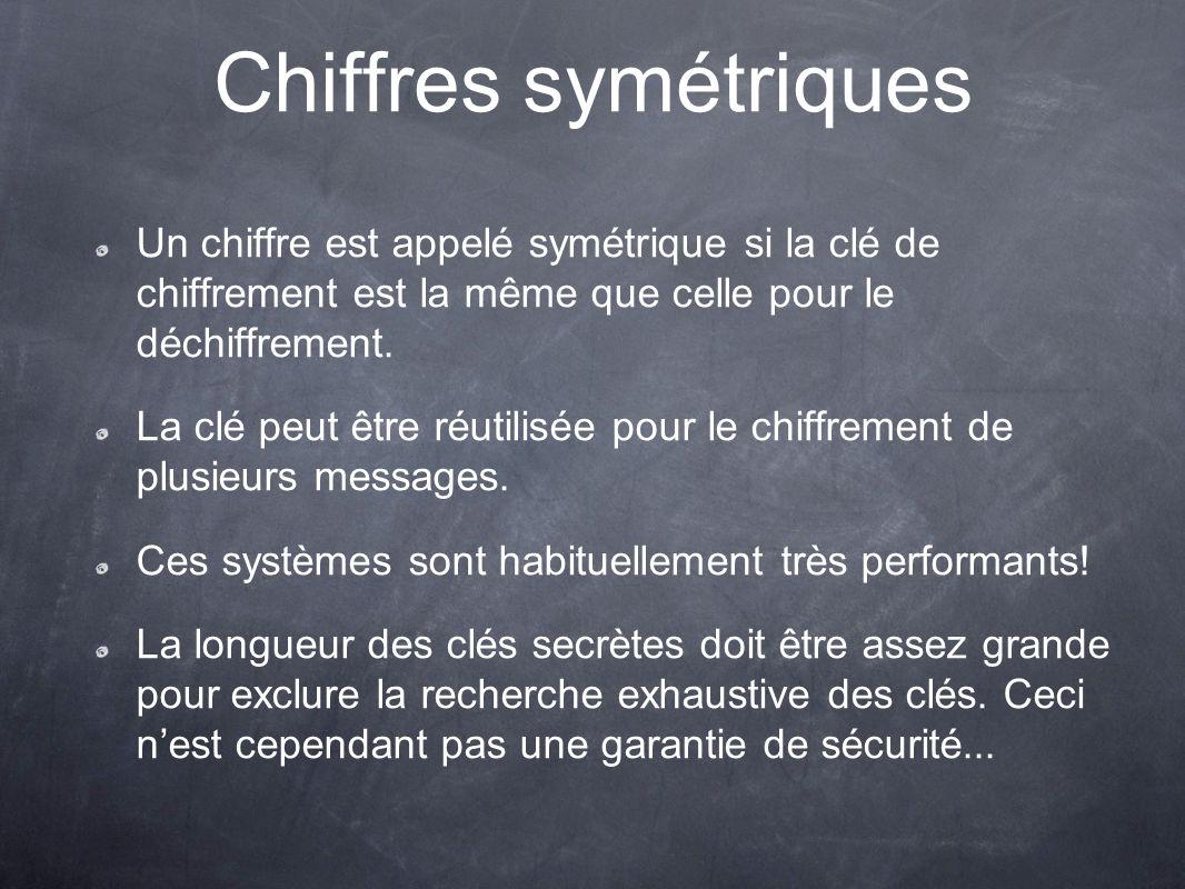 Chiffres symétriques Un chiffre est appelé symétrique si la clé de chiffrement est la même que celle pour le déchiffrement. La clé peut être réutilisé