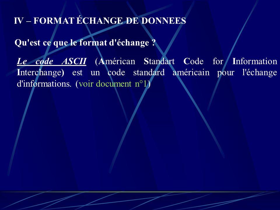 IV – FORMAT ÉCHANGE DE DONNEES Qu'est ce que le format d'échange ? Le code ASCII (Américan Standart Code for Information Interchange) est un code stan