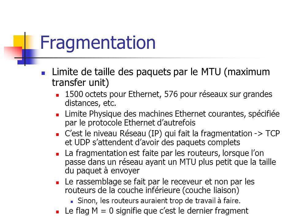 Fragmentation Limite de taille des paquets par le MTU (maximum transfer unit) 1500 octets pour Ethernet, 576 pour réseaux sur grandes distances, etc.