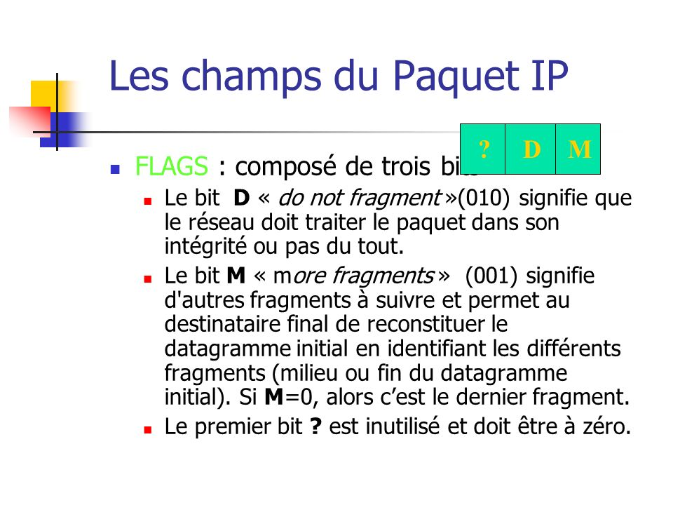 Les champs du Paquet IP IDENTIFICATION : entier qui identifie le datagramme initial (utilisé pour la reconstitution à partir des fragments qui ont tous la même valeur).
