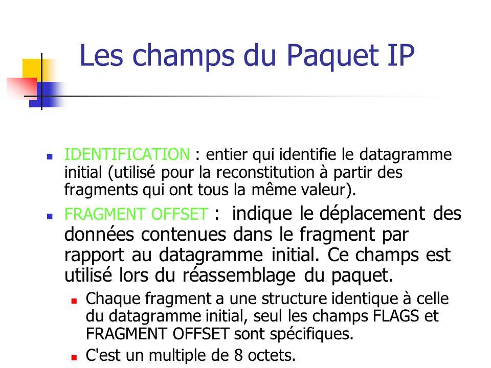 Les champs du Paquet IP Durée de vie (time to live (TTL)) Ce champ indique en secondes la durée maximale de transit du datagramme sur l internet.
