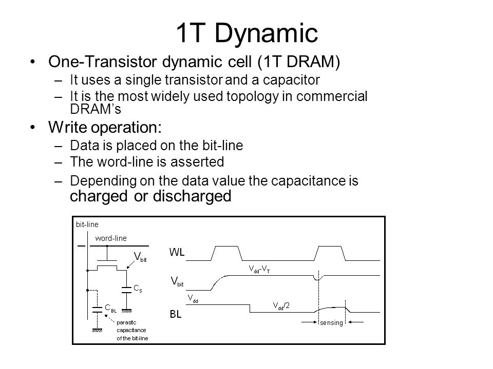 1T Dynamic One-Transistor dynamic cell (1T DRAM) –It uses a single transistor and a capacitor –It is the most widely used topology in commercial DRAMs