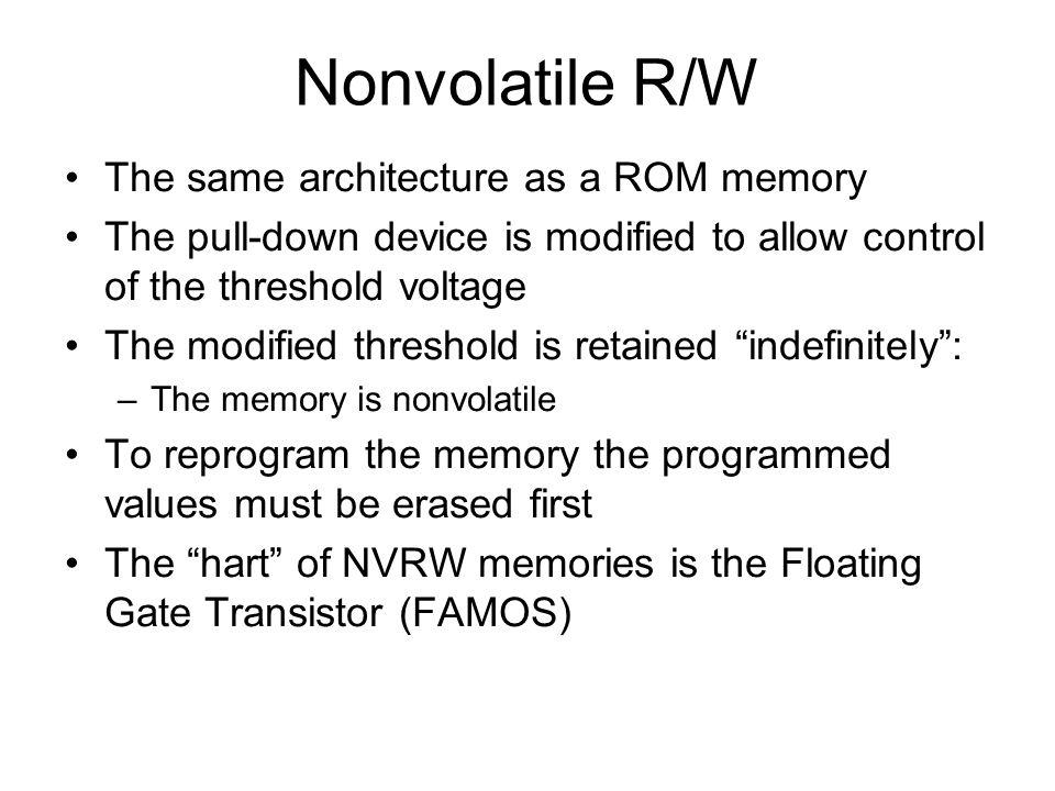 Mémoires de type DRAM Différentes complexités de conception Bit à écrire Sélection lecture Bit à lire Sélection écriture Sélection R/W Bit à R/W Capacité parasite Capacité explicite 3 transistors1 transistor