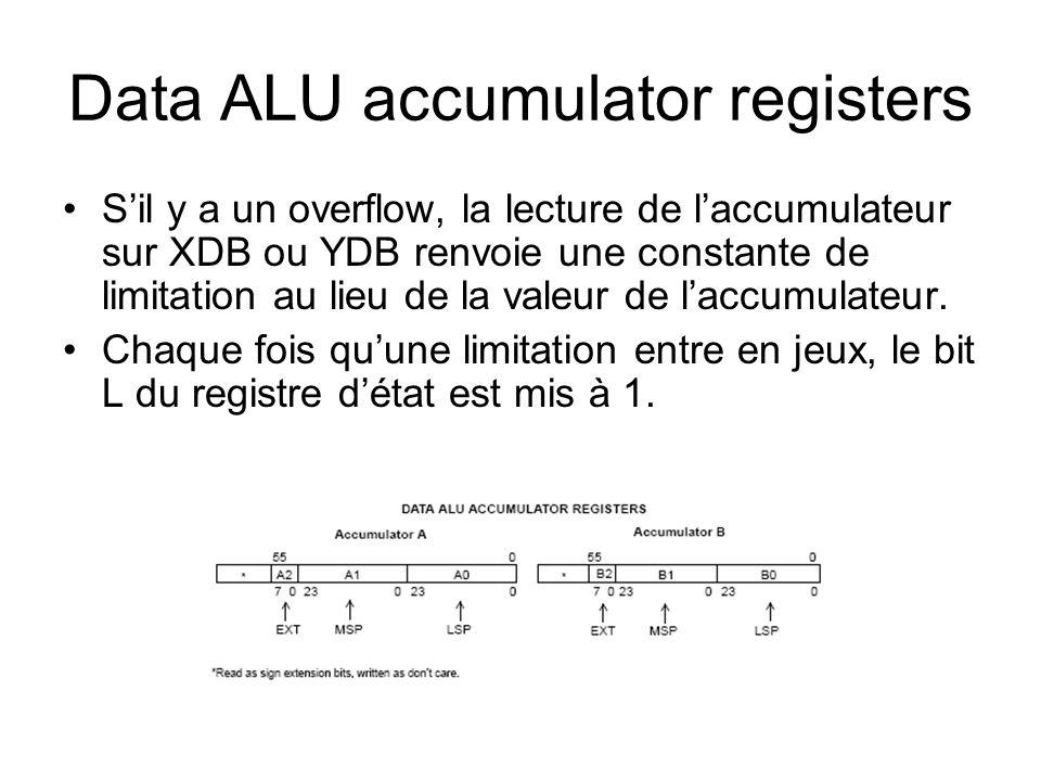Data ALU accumulator registers Sil y a un overflow, la lecture de laccumulateur sur XDB ou YDB renvoie une constante de limitation au lieu de la valeu