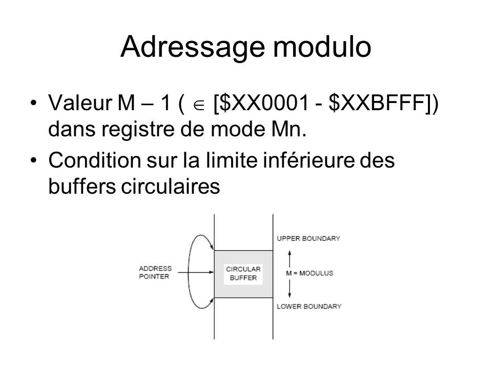 Adressage modulo Valeur M – 1 ( [$XX0001 - $XXBFFF]) dans registre de mode Mn. Condition sur la limite inférieure des buffers circulaires