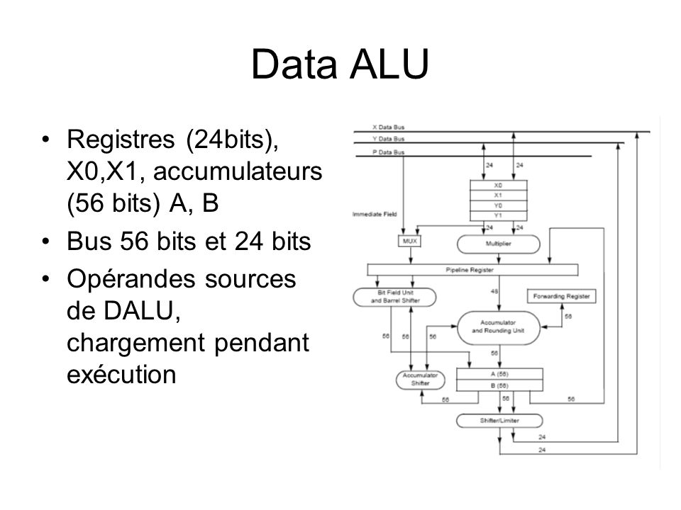 Data ALU Registres (24bits), X0,X1, accumulateurs (56 bits) A, B Bus 56 bits et 24 bits Opérandes sources de DALU, chargement pendant exécution