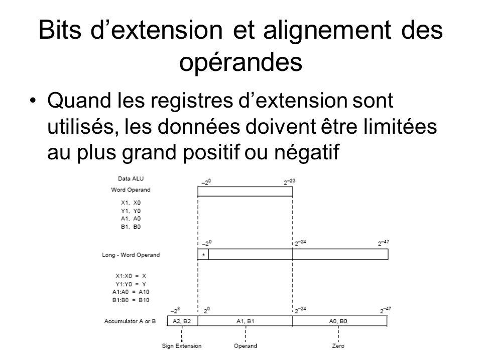 Bits dextension et alignement des opérandes Quand les registres dextension sont utilisés, les données doivent être limitées au plus grand positif ou n