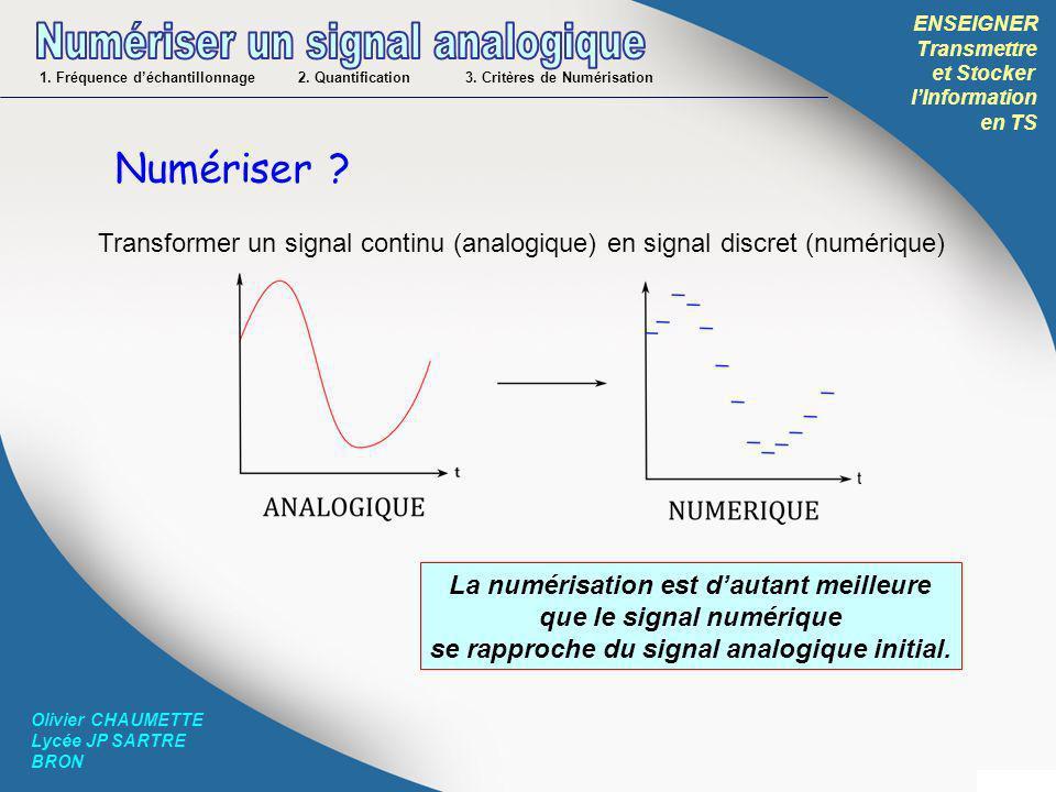 ENSEIGNER Transmettre et Stocker lInformation en TS Olivier CHAUMETTE Lycée JP SARTRE BRON Numériser ? Transformer un signal continu (analogique) en s