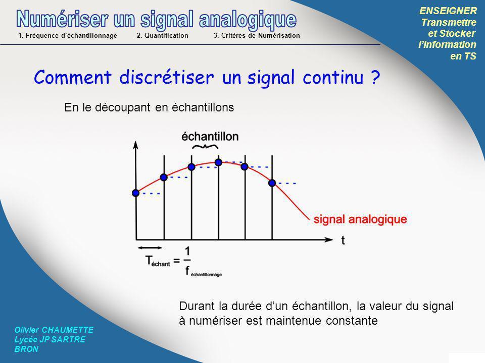 ENSEIGNER Transmettre et Stocker lInformation en TS Olivier CHAUMETTE Lycée JP SARTRE BRON Comment discrétiser un signal continu ? En le découpant en
