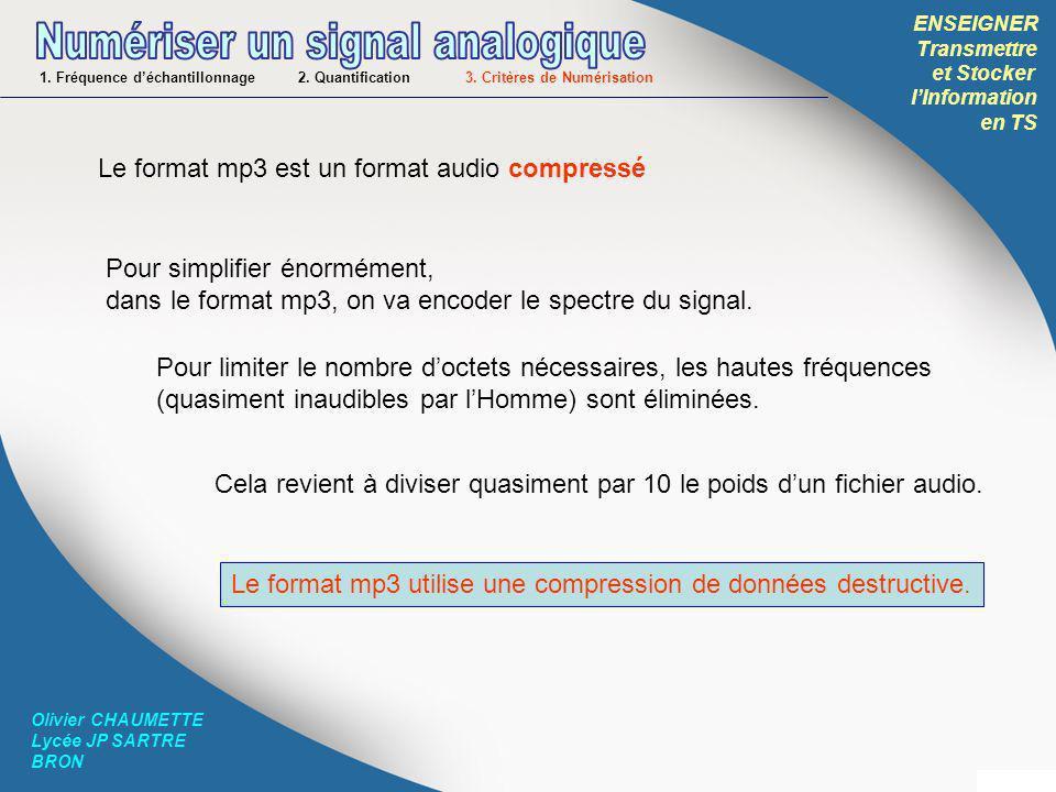 ENSEIGNER Transmettre et Stocker lInformation en TS Olivier CHAUMETTE Lycée JP SARTRE BRON 1. Fréquence déchantillonnage 2. Quantification 3. Critères