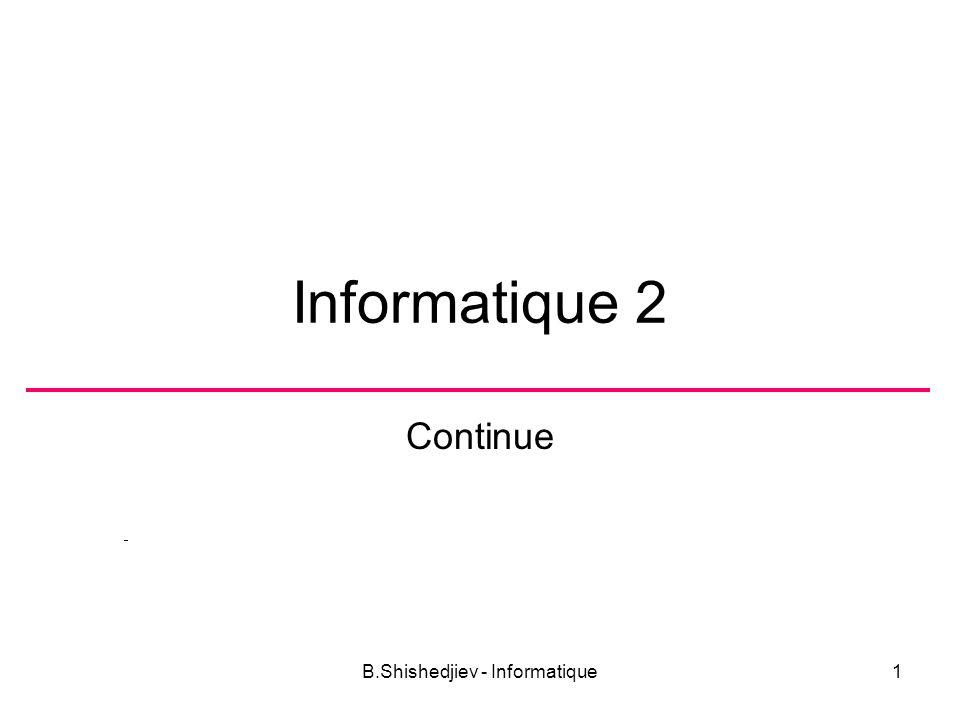 B.Shishedjiev - Informatique12 Représentation du texte Le texte est présenté comme une chaîne de caractères.