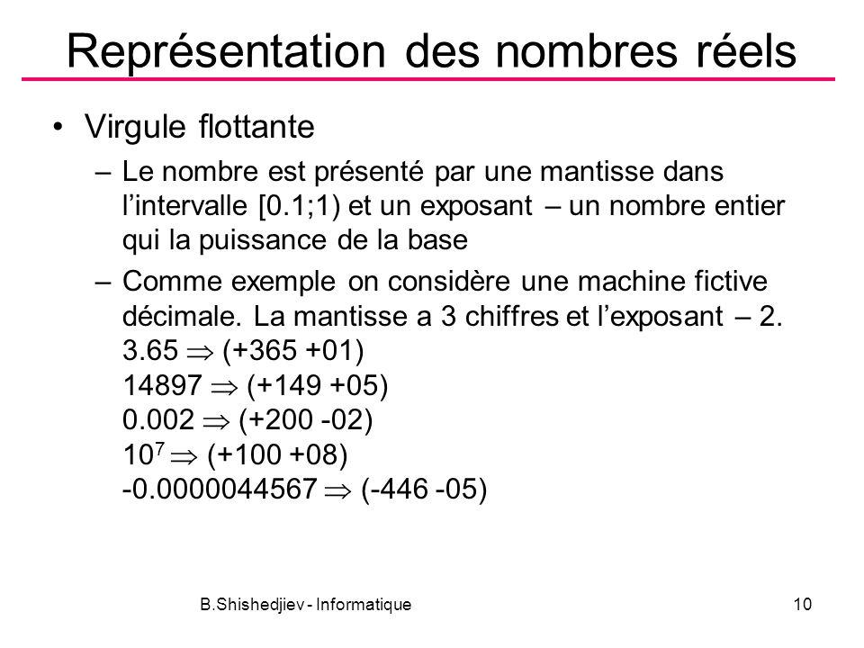 B.Shishedjiev - Informatique10 Représentation des nombres réels Virgule flottante –Le nombre est présenté par une mantisse dans lintervalle [0.1;1) et