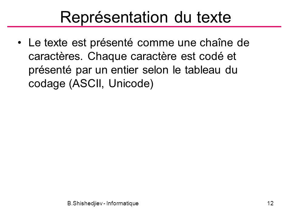 B.Shishedjiev - Informatique12 Représentation du texte Le texte est présenté comme une chaîne de caractères. Chaque caractère est codé et présenté par