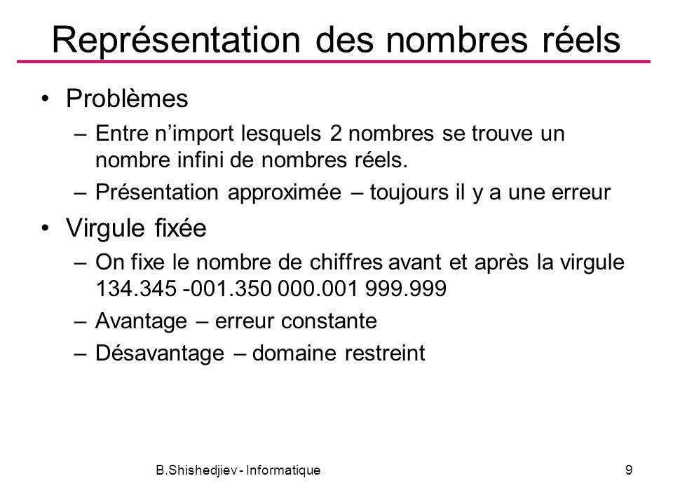 B.Shishedjiev - Informatique9 Représentation des nombres réels Problèmes –Entre nimport lesquels 2 nombres se trouve un nombre infini de nombres réels