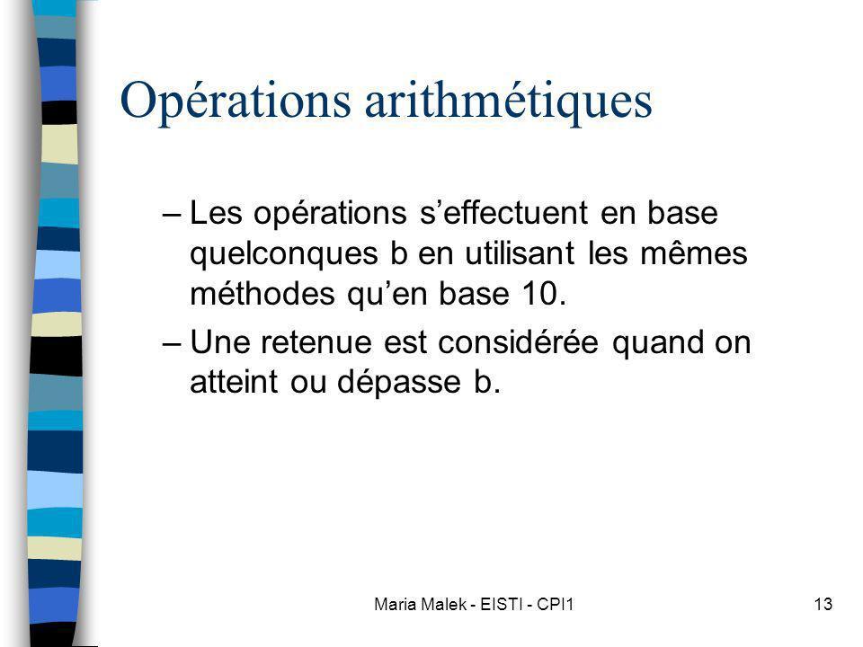 Maria Malek - EISTI - CPI113 Opérations arithmétiques –Les opérations seffectuent en base quelconques b en utilisant les mêmes méthodes quen base 10.