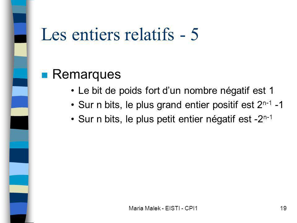 Maria Malek - EISTI - CPI119 Les entiers relatifs - 5 n Remarques Le bit de poids fort dun nombre négatif est 1 Sur n bits, le plus grand entier positif est 2 n-1 -1 Sur n bits, le plus petit entier négatif est -2 n-1