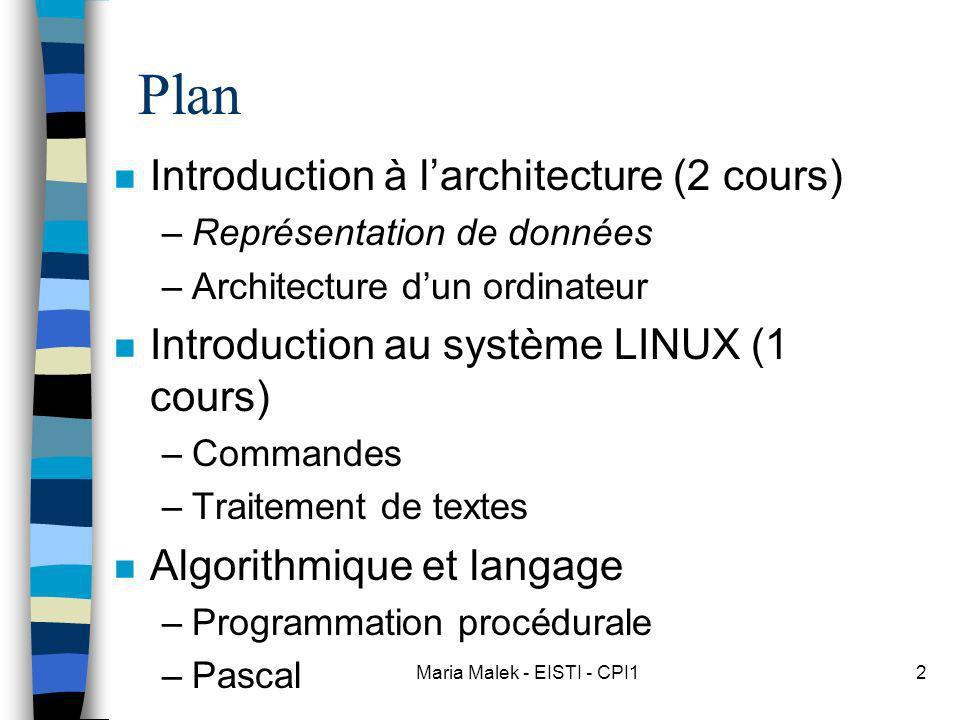 Maria Malek - EISTI - CPI12 Plan n Introduction à larchitecture (2 cours) –Représentation de données –Architecture dun ordinateur n Introduction au système LINUX (1 cours) –Commandes –Traitement de textes n Algorithmique et langage –Programmation procédurale –Pascal
