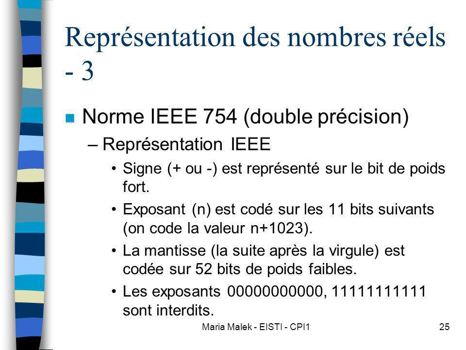 Maria Malek - EISTI - CPI125 Représentation des nombres réels - 3 n Norme IEEE 754 (double précision) –Représentation IEEE Signe (+ ou -) est représen