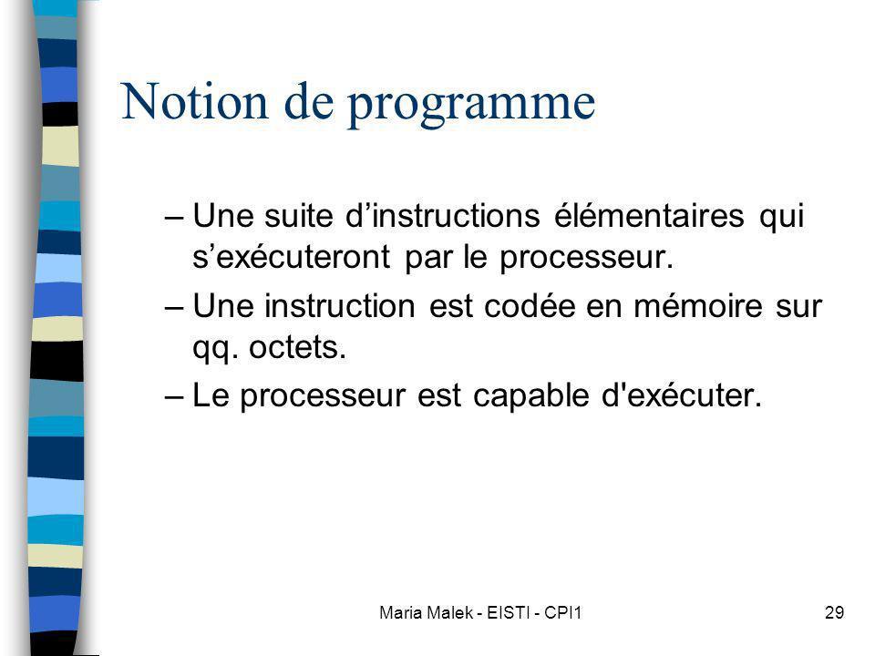 Maria Malek - EISTI - CPI129 Notion de programme –Une suite dinstructions élémentaires qui sexécuteront par le processeur. –Une instruction est codée