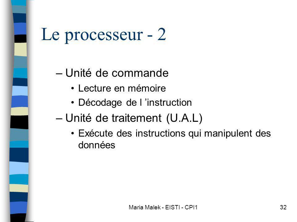Maria Malek - EISTI - CPI132 Le processeur - 2 –Unité de commande Lecture en mémoire Décodage de l instruction –Unité de traitement (U.A.L) Exécute des instructions qui manipulent des données
