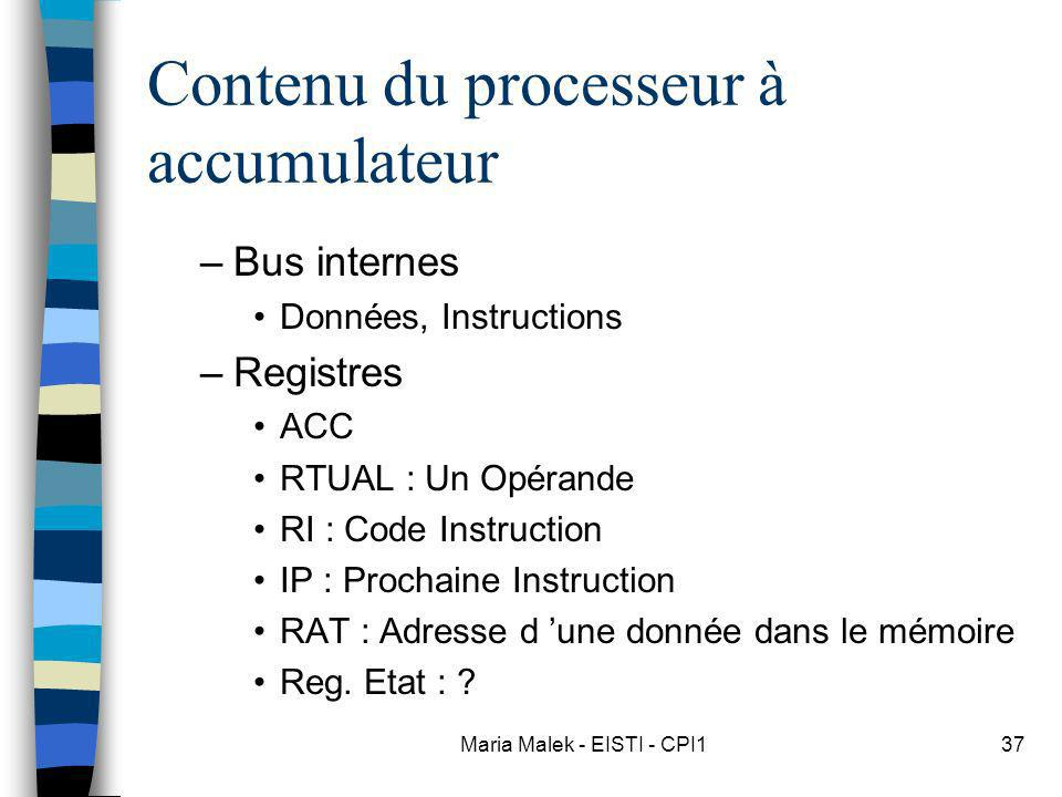 Maria Malek - EISTI - CPI137 Contenu du processeur à accumulateur –Bus internes Données, Instructions –Registres ACC RTUAL : Un Opérande RI : Code Instruction IP : Prochaine Instruction RAT : Adresse d une donnée dans le mémoire Reg.