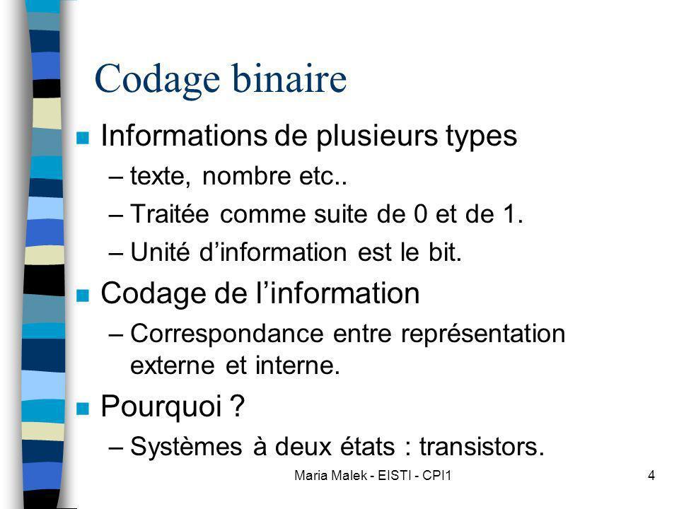 Maria Malek - EISTI - CPI14 Codage binaire n Informations de plusieurs types –texte, nombre etc.. –Traitée comme suite de 0 et de 1. –Unité dinformati