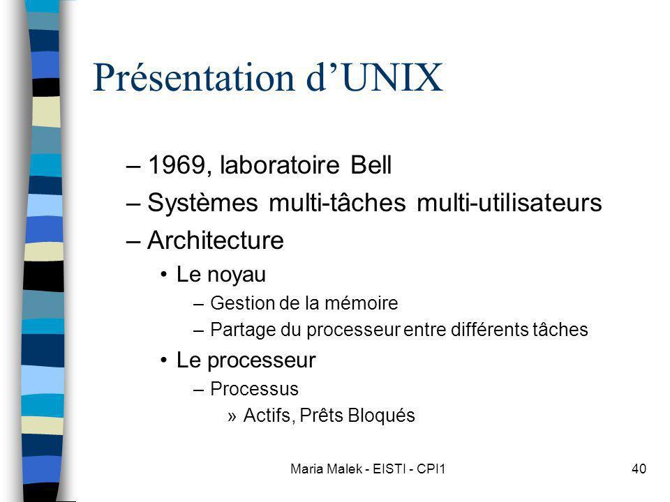 Maria Malek - EISTI - CPI140 Présentation dUNIX –1969, laboratoire Bell –Systèmes multi-tâches multi-utilisateurs –Architecture Le noyau –Gestion de l