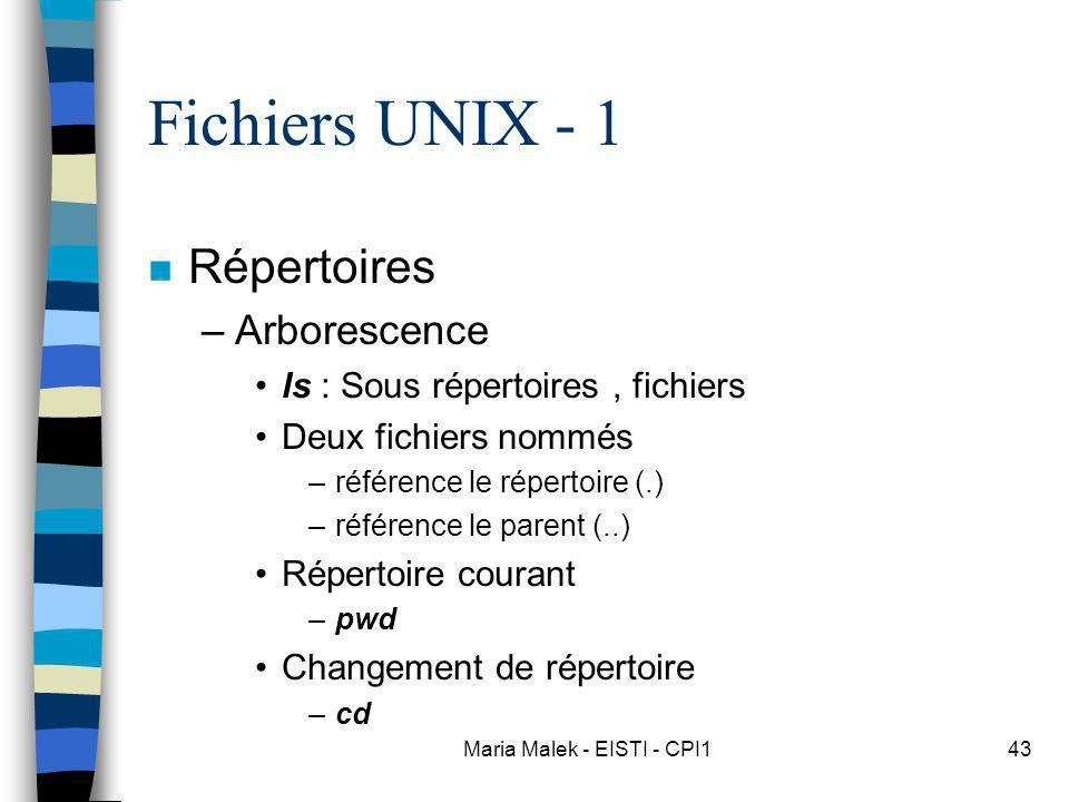 Maria Malek - EISTI - CPI143 Fichiers UNIX - 1 n Répertoires –Arborescence ls : Sous répertoires, fichiers Deux fichiers nommés –référence le répertoire (.) –référence le parent (..) Répertoire courant –pwd Changement de répertoire –cd