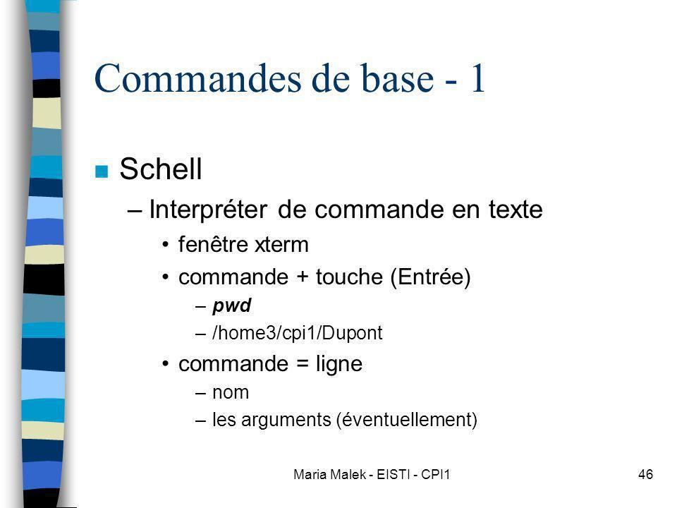Maria Malek - EISTI - CPI146 Commandes de base - 1 n Schell –Interpréter de commande en texte fenêtre xterm commande + touche (Entrée) –pwd –/home3/cpi1/Dupont commande = ligne –nom –les arguments (éventuellement)