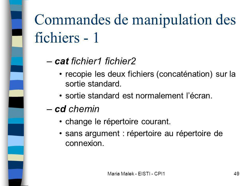Maria Malek - EISTI - CPI149 Commandes de manipulation des fichiers - 1 –cat fichier1 fichier2 recopie les deux fichiers (concaténation) sur la sortie