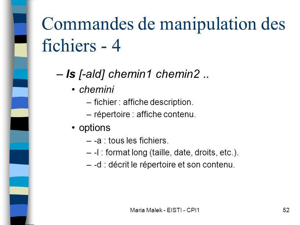 Maria Malek - EISTI - CPI152 Commandes de manipulation des fichiers - 4 –ls [-ald] chemin1 chemin2.. chemini –fichier : affiche description. –répertoi