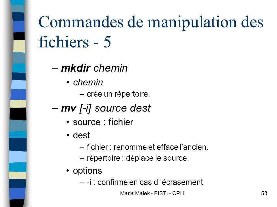 Maria Malek - EISTI - CPI153 Commandes de manipulation des fichiers - 5 –mkdir chemin chemin –crée un répertoire. –mv [-i] source dest source : fichie