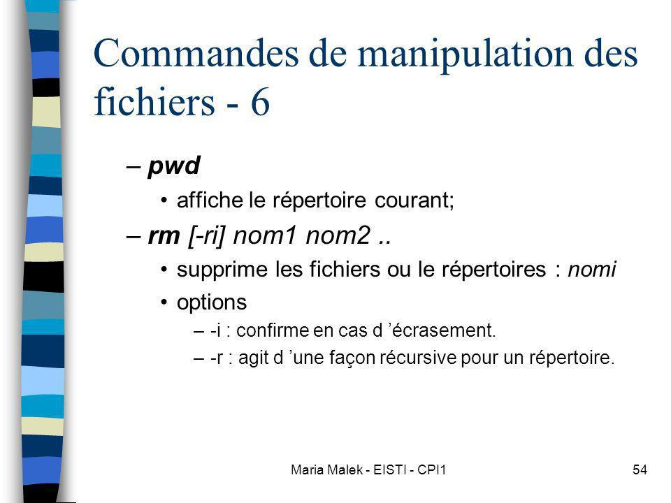 Maria Malek - EISTI - CPI154 Commandes de manipulation des fichiers - 6 –pwd affiche le répertoire courant; –rm [-ri] nom1 nom2.. supprime les fichier