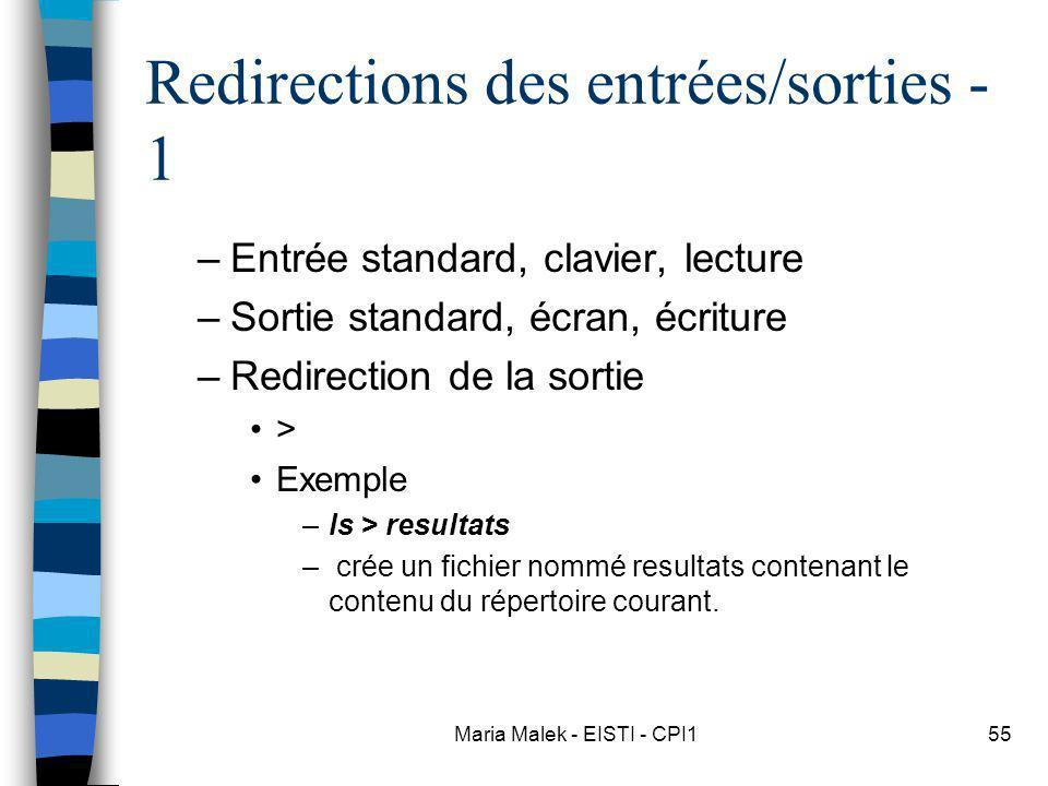 Maria Malek - EISTI - CPI155 Redirections des entrées/sorties - 1 –Entrée standard, clavier, lecture –Sortie standard, écran, écriture –Redirection de la sortie > Exemple –ls > resultats – crée un fichier nommé resultats contenant le contenu du répertoire courant.