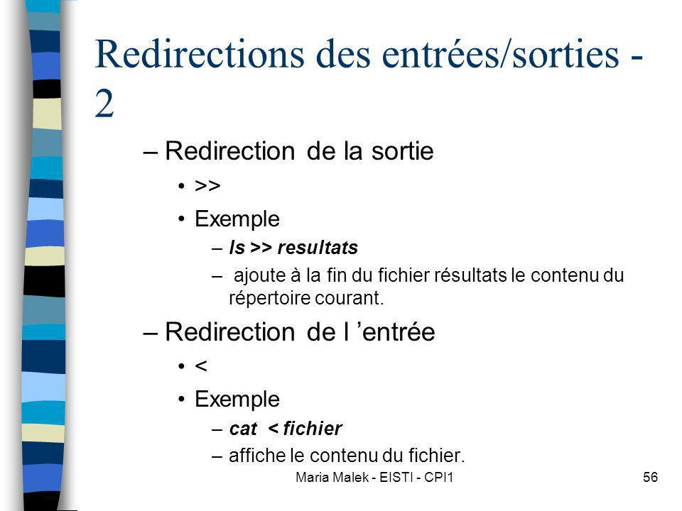 Maria Malek - EISTI - CPI156 Redirections des entrées/sorties - 2 –Redirection de la sortie >> Exemple –ls >> resultats – ajoute à la fin du fichier résultats le contenu du répertoire courant.