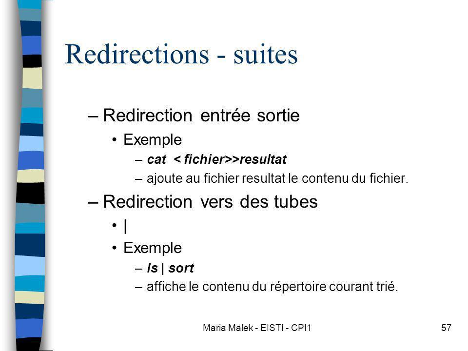 Maria Malek - EISTI - CPI157 Redirections - suites –Redirection entrée sortie Exemple –cat >resultat –ajoute au fichier resultat le contenu du fichier
