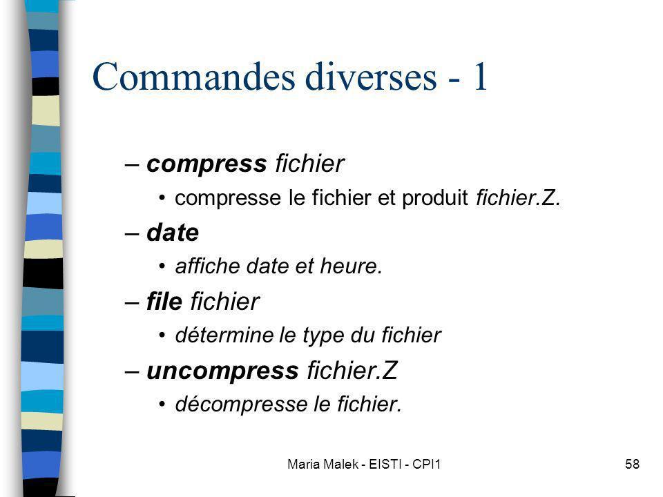 Maria Malek - EISTI - CPI158 Commandes diverses - 1 –compress fichier compresse le fichier et produit fichier.Z. –date affiche date et heure. –file fi