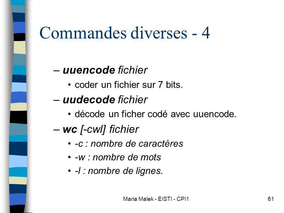 Maria Malek - EISTI - CPI161 Commandes diverses - 4 –uuencode fichier coder un fichier sur 7 bits. –uudecode fichier décode un ficher codé avec uuenco