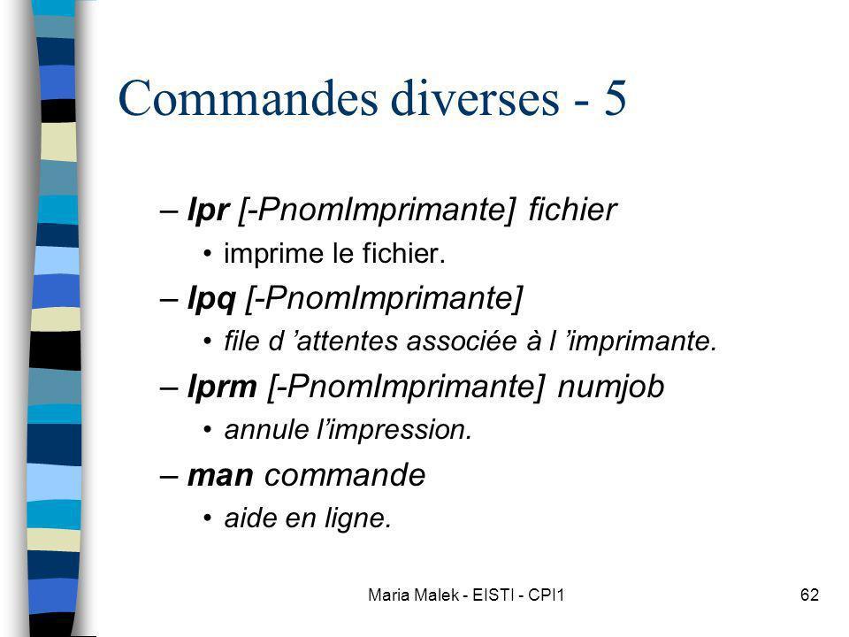 Maria Malek - EISTI - CPI162 Commandes diverses - 5 –lpr [-PnomImprimante] fichier imprime le fichier. –lpq [-PnomImprimante] file d attentes associée