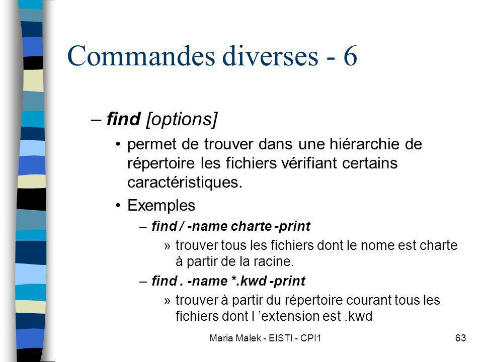 Maria Malek - EISTI - CPI163 Commandes diverses - 6 –find [options] permet de trouver dans une hiérarchie de répertoire les fichiers vérifiant certains caractéristiques.