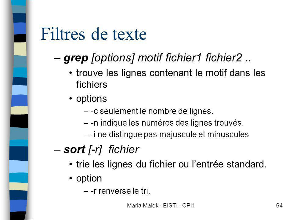 Maria Malek - EISTI - CPI164 Filtres de texte –grep [options] motif fichier1 fichier2.. trouve les lignes contenant le motif dans les fichiers options
