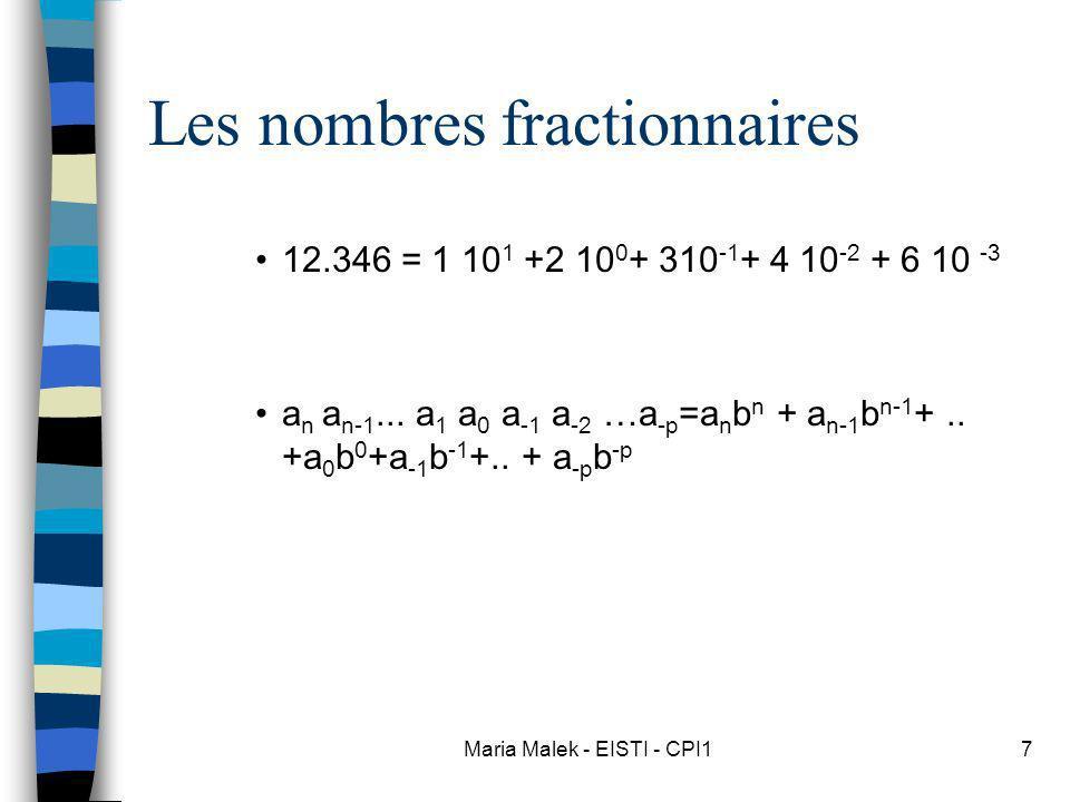 Maria Malek - EISTI - CPI17 Les nombres fractionnaires 12.346 = 1 10 1 +2 10 0 + 310 -1 + 4 10 -2 + 6 10 -3 a n a n-1... a 1 a 0 a -1 a -2 …a -p =a n