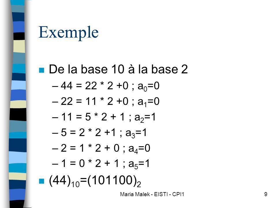 Maria Malek - EISTI - CPI19 Exemple n De la base 10 à la base 2 –44 = 22 * 2 +0 ; a 0 =0 –22 = 11 * 2 +0 ; a 1 =0 –11 = 5 * 2 + 1 ; a 2 =1 –5 = 2 * 2 +1 ; a 3 =1 –2 = 1 * 2 + 0 ; a 4 =0 –1 = 0 * 2 + 1 ; a 5 =1 n (44) 10 =(101100) 2
