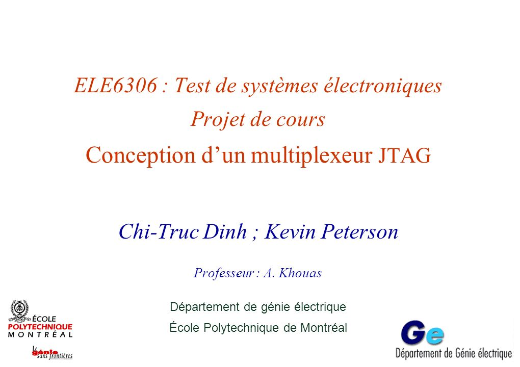 Projet, ELE6306 - mai 14École Polytechnique de Montréal 11 Exemple de fichier BSDL -- Jtag Mux 3 Chain 0 BSDL File -- Updated: December 5, 2003 -- ********************************************************************** -- entity chain0_3 is generic(PHYSICAL_PIN_MAP : string:= HYPERCHIP ); port ( TCK : in bit; TDI : in bit; TDO : out bit; TMS : in bit ); use STD_1149_1_1990.all; attribute PIN_MAP of chain0_3 : entity is PHYSICAL_PIN_MAP; constant HYPERCHIP:PIN_MAP_STRING := TCK : 36, & TDI : 33, & TDO : 34, & TMS : 35 ; attribute Tap_Scan_In of TDI : signal is true; attribute Tap_Scan_Mode of TMS : signal is true; attribute Tap_Scan_Out of TDO : signal is true; attribute Tap_Scan_Clock of TCK : signal is (1.0e7, BOTH); -- attribute TAP_SCAN_RESET of TRST : signal is true; attribute Instruction_Length of chain0_3: entity is 14; attribute Instruction_Opcode of chain0_3: entity is BYPASS (101000110), & SAMPLE (000000011), & IDCODE (111111100), & EXTEST (000000000) ; attribute Instruction_Capture of chain0_3 : entity is XXXXXXX01 ; attribute Boundary_Cells of chain0_3: entity is BC_1 ; attribute Boundary_Length of chain0_3: entity is 1; attribute Boundary_Register of chain0_3: entity is 0 (BC_1, *, control, 0) ; end chain0_3;