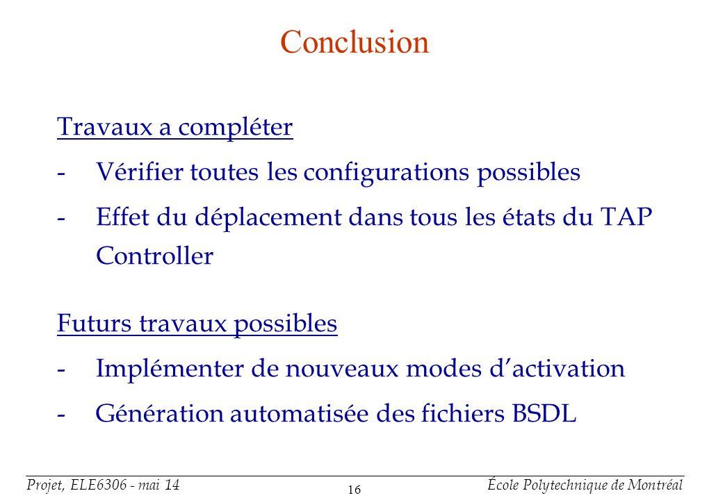 Projet, ELE6306 - mai 14École Polytechnique de Montréal 16 Conclusion Travaux a compléter -Vérifier toutes les configurations possibles -Effet du dépl