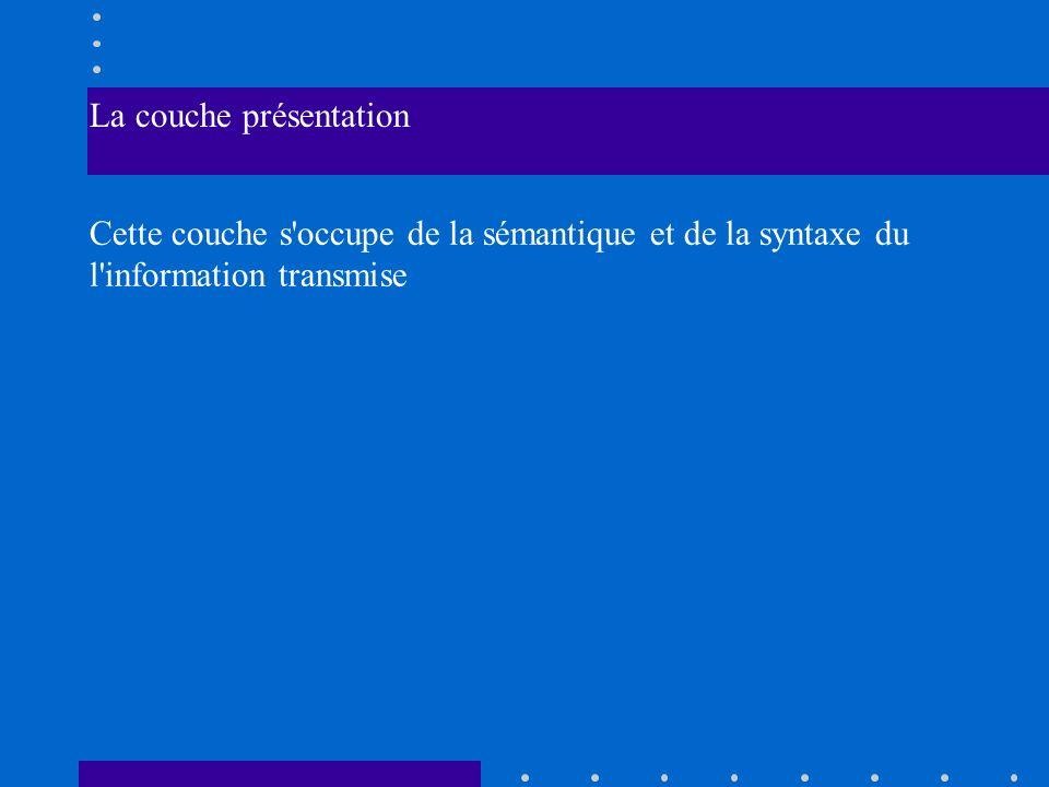 La couche présentation Cette couche s'occupe de la sémantique et de la syntaxe du l'information transmise