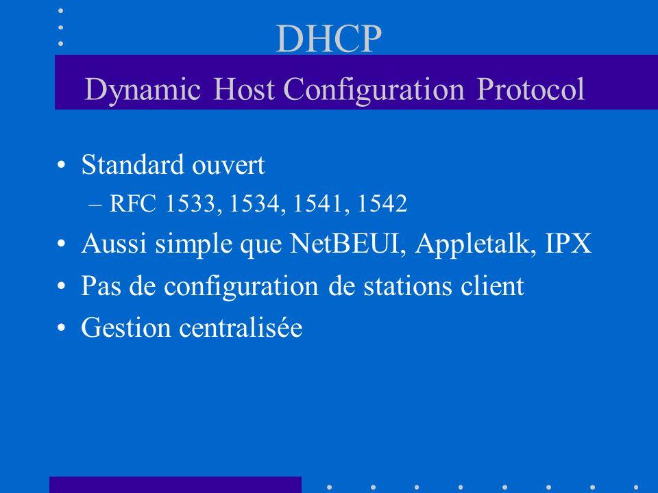 DHCP Dynamic Host Configuration Protocol Standard ouvert –RFC 1533, 1534, 1541, 1542 Aussi simple que NetBEUI, Appletalk, IPX Pas de configuration de