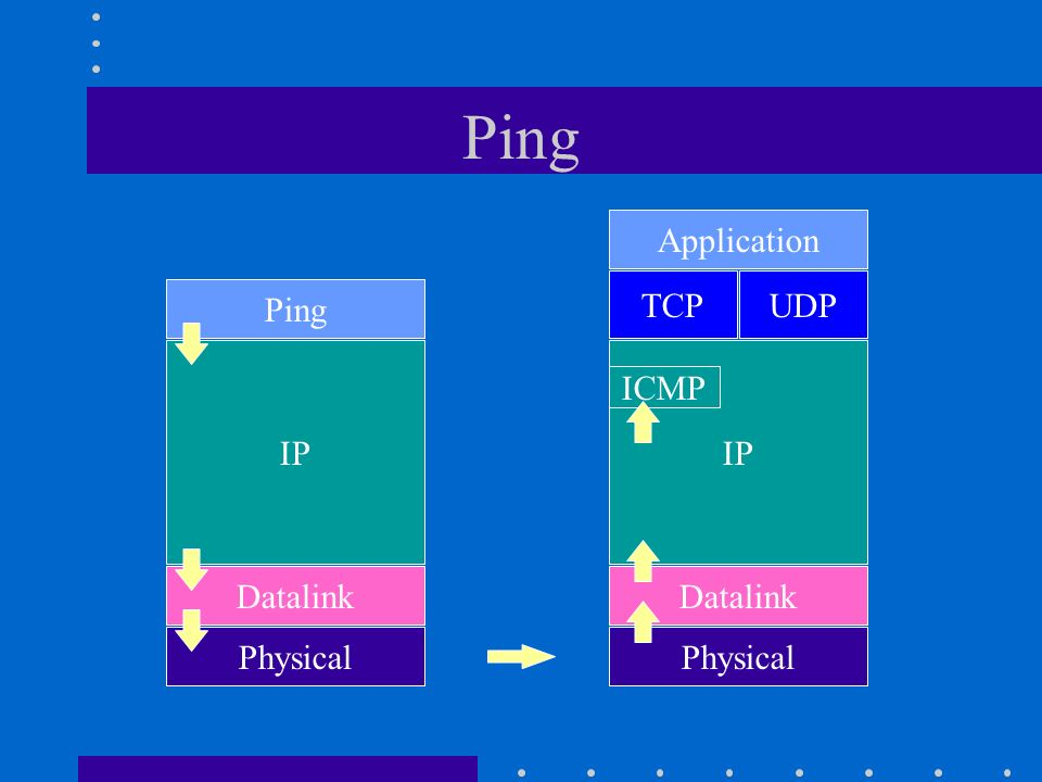 Ping TCP IP Datalink Physical Application UDP ICMP IP Datalink Physical Ping
