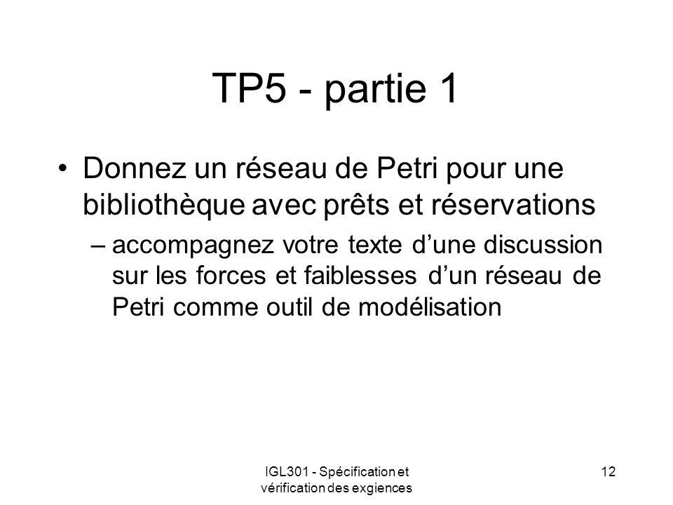 IGL301 - Spécification et vérification des exgiences 12 TP5 - partie 1 Donnez un réseau de Petri pour une bibliothèque avec prêts et réservations –acc